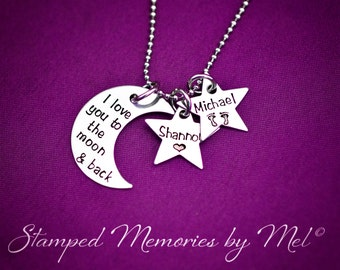 I Love You to the Moon and Back - Personalized Mommy Necklace - Hand Stamped Jewelry - Moon and Stars - Kids Name Necklace - Mother, Grandma