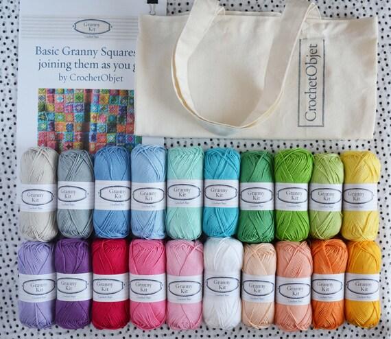 Crochet Kits For Beginners : Crochet Beginners Kit Granny square DIY pattern by CrochetObjet