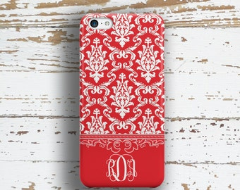 Personalized gifts for mom, Damask phone case, Monogram Floral Womens Fits iPhone 4/4s 5/5s 6/6s 7 8 5c SE X and Plus, Red  (1265)
