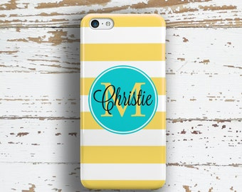 Nautical Iphone 6 Plus case, Striped iPhone 8 case, Girl's iPhone 5 case, Name iPhone 6s case Cute BFF Gifts Yellow turquoise white  (9809)