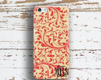 Pretty Iphone 7 case for girls, Iphone 7 plus case, Damask Iphone 6s case, Floral Iphone 6 case Womens winter fashion Grunge red gold (1336)