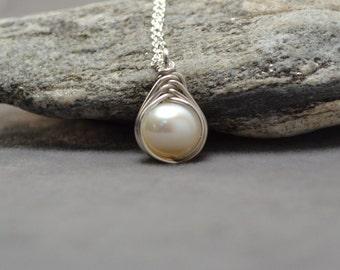 Freshwater Pearl Pendant, Pearl Necklace, Pearl Pendant, Pearl Jewelry, Sterling Silver, Herringbone Wrap, Simple Jewelry, June Birthstone