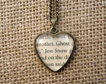 Game of Thrones Jon Snow Heart Book Page Necklace