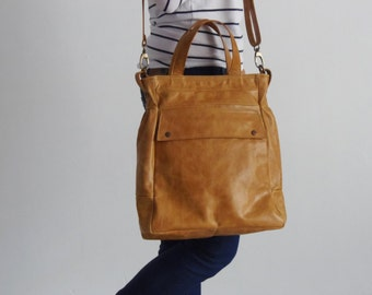 Convertible bag - Convertible backpack tote - Tan leather tote - ARTE bag in tan color