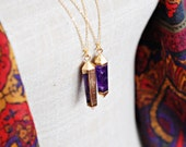 Large Amethyst Point necklace with gold