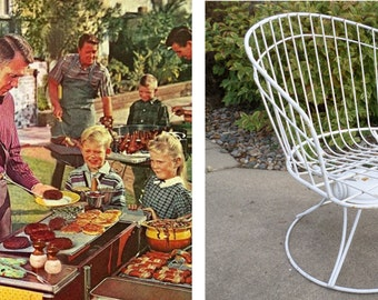 Homecrest, Eames Era, Metal, Wire, Chair, White, Barrel Chair, Vintage, Mid Century Modern,, Swivel Chair, Lounge Chair, Side Chair