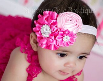 Valentine headband, Shades of Pink Baby Headband, Infant Headband, Newborn Headband, Baby Headband, Toddler Headband, , Headbands