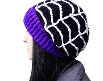 Spooky Spider Web Beanie - Creepy Custom Colour Cobweb Hat - Black Purple and White Gothic Slouch Beret