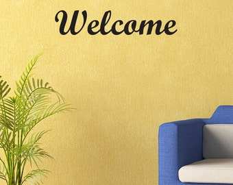 Welcome Vinyl Wall Decal Quotes Home Sticker Decor (JR351)