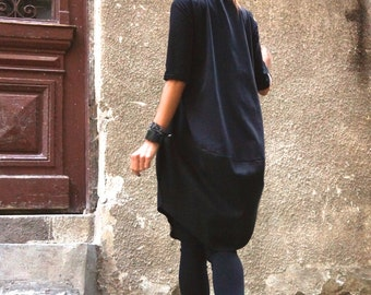 New COLLECTION Oversize Black Loose Casual Top / Linen Cotton Top / Extravagant Tunic / Black Dress 3/4 sleeves A02152
