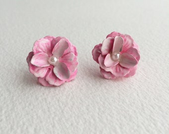 pink earring, pink jewelry, pink flower earring, bridal bridesmaid earring flower vintage rose post stud