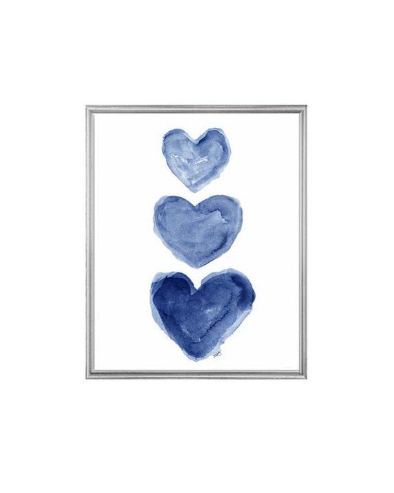 Indigo Blue Watercolor Heart Art Print, 5x7, 8x10