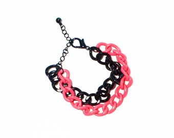 50% OFF Neon Chain Bracelet Pink and Black Chunky Jewelry
