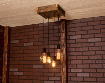 Industrial Lighting, Industrial Chandelier With Reclaimed Wood and 4 Pendants.      R-1212-4