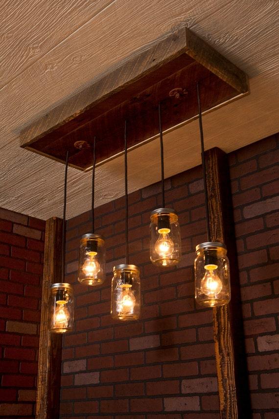 Mason Jar Chandelier With Reclaimed Wood and 5 Pendants. R-1434-CMJ-5