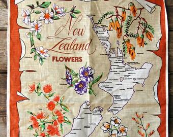 Vintage New Zealand Flowers Linen Tea Towel
