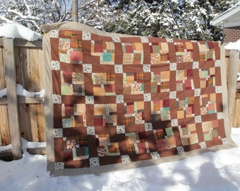 Brown Plaid with Beige Twin Sized Quilt - Hand Tied