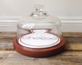 Goodwood Cheese Teak Platter/Board with Glass Cloche/Dome Wood and Tile with Mid Century Cheese Design Word