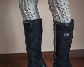 Woman's  Gray Leg warmers Knee high sock Hand Knit Cable Knit boot sock Winter accessory Over the knee sock Legwarmer Stocking Stuffer