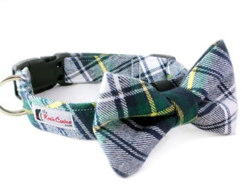 Forest Green, Yellow and White Plaid Flannel Dog Collar  (Dog Collar Only - Matching Bow Tie Available Separately)