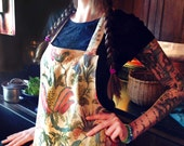 Beautiful bib apron with florid floral --  vintage linen fabric