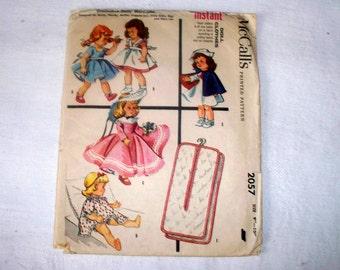 "1956 McCalls Diminutive Dolls' Instant Wardrobe Pattern - Cut Complete - 2057 - Size 9"" - 10"""