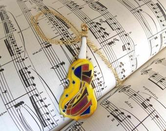 Violin Pendant Necklace (enameled Brass cloisonne)