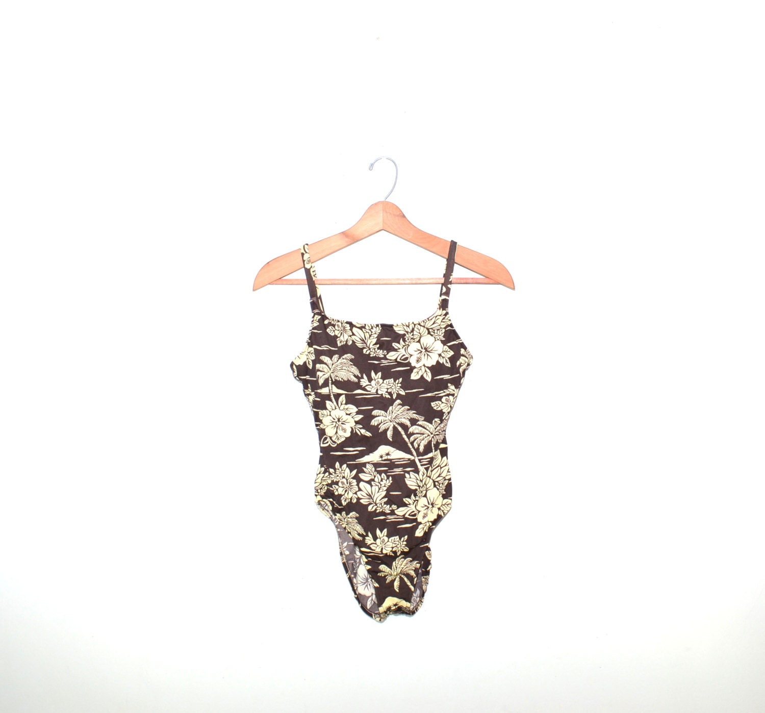 Vintage Brown Swimsuit Brown Bathing Suit One Piece Swimsuit