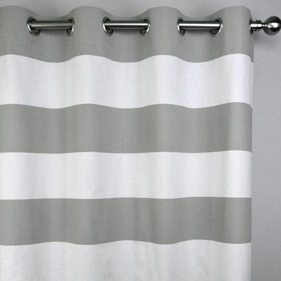 Gray White Modern Horizontal Stripe Cabana Curtains - Grommet - 84 96 ...