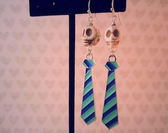 White Skulls 'n Blue Ties Earrings, Day of the Dead, Halloween Jewelry, Skull Earrings, Halloween Earrings,