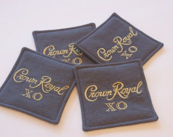 Crown Royal XO Coasters, Grey Fabric Coasters Set of 4, Gifts under 20, Gifts for Men, Etsy Dudes, Barware, Anniversary Gift, Valentines Day