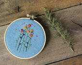 Hand Embroidered Hoop Wildflowers in Blue, Pink, Yellow Orange by The Penny Runner