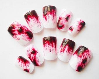 Blood Fake Nails, Blood Splatter Nails, Real Clot Effect Nail Art, Dexter Inspired Nails, Bloody Nail Art, Press on Nails, False Nails