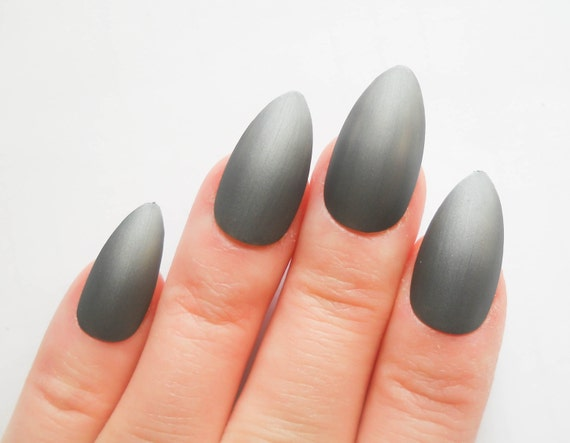 Gunmetal Matte Stiletto Nails Fake Nails Acrylic Nails