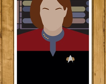 Minimal Star Trek: Voyager - Captain Janeway Poster (Various Sizes)