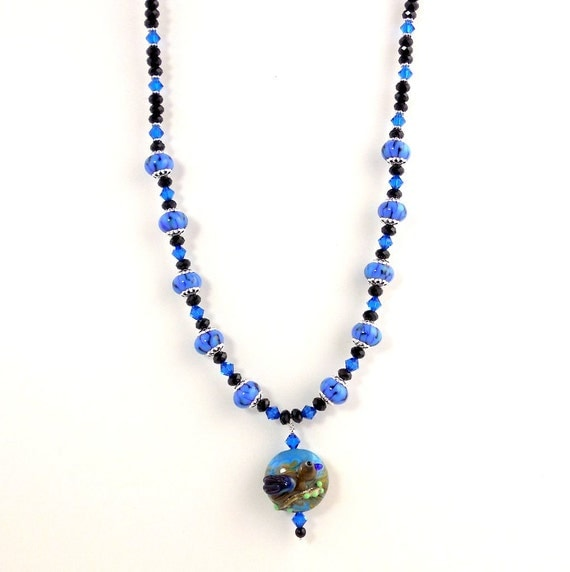 bluebird and pendant necklace lwork necklace