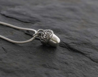 Large Silver Acorn Pendant  Handmade recycled fine silver jewellery  PMC silver clay acorn necklace