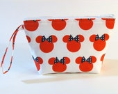 Red Minnie Mouse Heads Make Up Bag - Accessory - Cosmetic Bag - Gift
