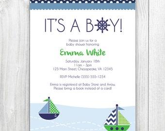 printable nautical boy baby shower invitation