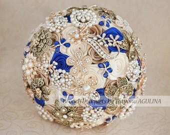 Brooch bouquet. Ivory, Champagne and Royal Blue wedding brooch bouquet, Jeweled Bouquet.