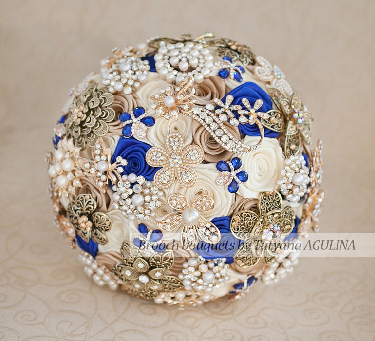 Royal Blue And Ivory Wedding Bouquets : Brooch bouquet ivory champagne and royal blue wedding