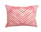 "24x16"" Chevron scatter cushion in Coral pink, striped watercolor printed cushion"