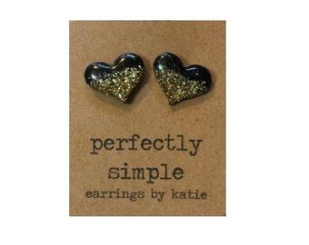 Black with gold glitter heart stud earrings