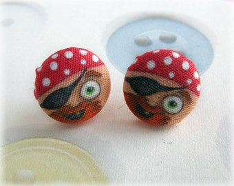 Pirate Button Earrings Pirates Studs Post Earring Swashbuckling Cartoon Printed Fabric Covered Buttons Illustration Jewellery Jewelry