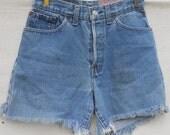 Vintage 501 Levi Cutoffs Distressed Denim Shorts Red Tab Button Fly