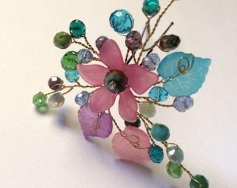 Bridesmaid hair pin colorful, Bridesmaid hair accessories, Hairpin bridesmaid, Colorful hair pin, Flower girl hair pin, Flower headpiece