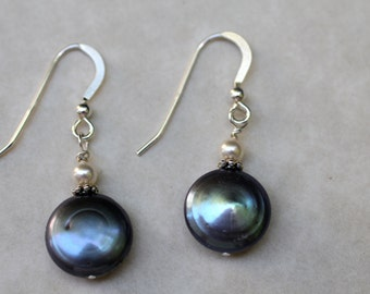 Freshwater Coin Pearl Earrings with Sterling Silver