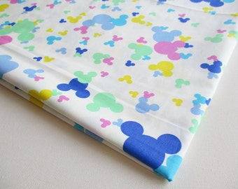 Mickey Minnie style Cotton Fabric White with Blue green pink Yellow, Colorful fabric, Cotton Cartoon Fabric,kid dress, pillow cover, CT268