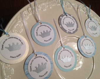 Prince crown  FAVOR TAGS Thank you tags personalized royal prince party