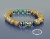 Buddha bracelet Wrist mala beads Men wood bracelet mala Spiritual bracelet Green jade & wood jasper bracelet mala Earth energy Zen bracelet